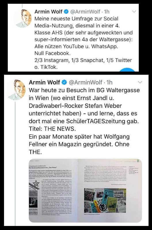Twitter-Meldung 1: Armin Wolf - ... alle nützen YoutTube und WhatsApp. Null Facebook.Twitter-Meldung 2: Armin Wolf - über die SchülerTAGESzeitung